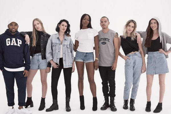 Above: Gap pays homage to the past with (L-R): TJ Mizell, Coco Gordon, Rumer Willis, Naomi Campbell, Evan Ross, Chelsea Tyler and Lizzy Jagger