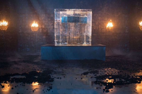 Above: The premiere date was revealed using a block of ice