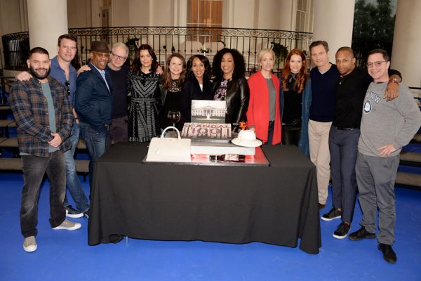 Above: The cast of ABC's 'Scandal' celebrate the filming of the 100th episode