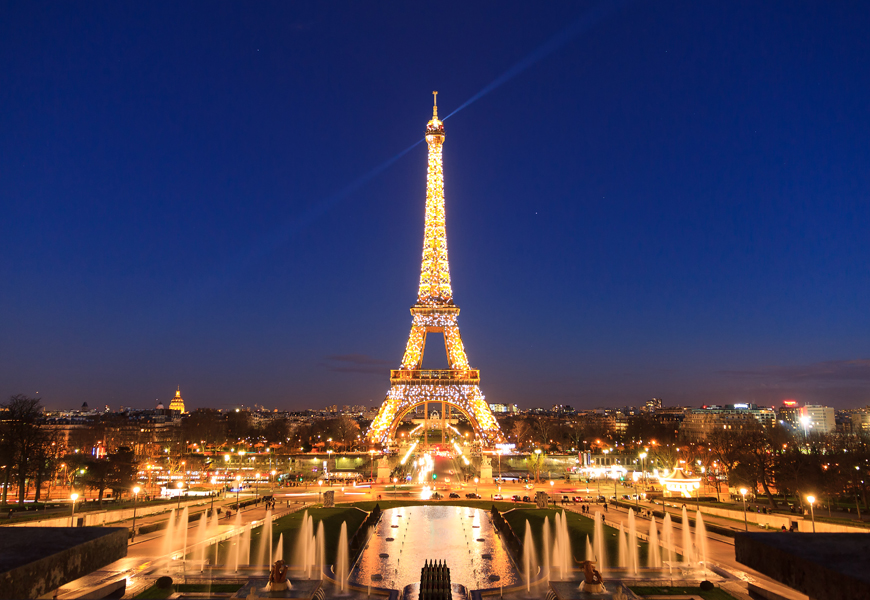 Above: There's nothing quite like the Eiffel Tower at night