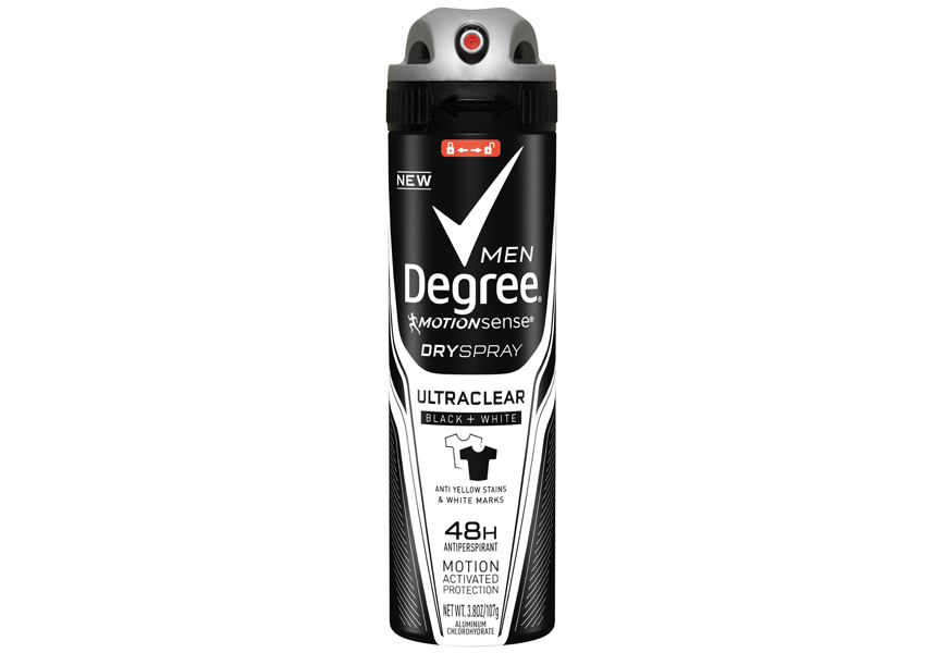Above: Degree's new UltraClear Dry Spray Black + White Antiperspirant