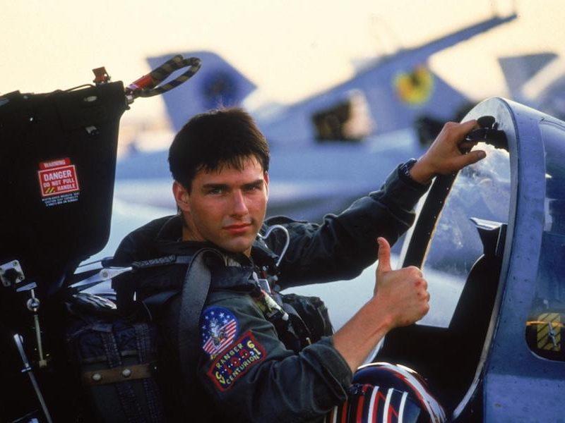 Above: Tom Cruise in the 1986 classic, 'Top Gun'
