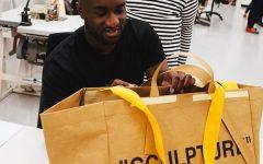 Above: Virgil Abloh shows off the new Frakta bag