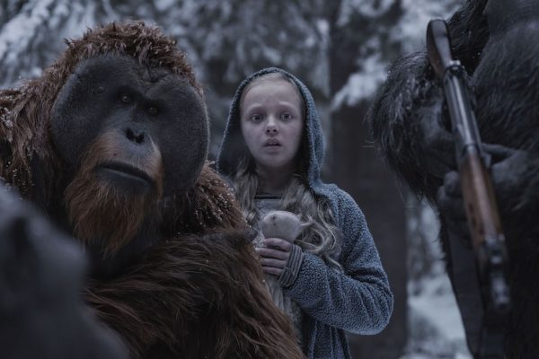 Above: Karin Konoval, left, and Amiah Miller in 'War for the Planet of the Apes'.