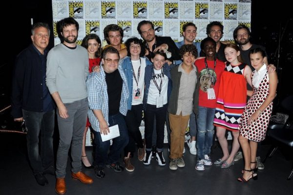 Above: The cast of 'Stranger Things' with Patton Oswalt at 2017 San Diego Comic-Con