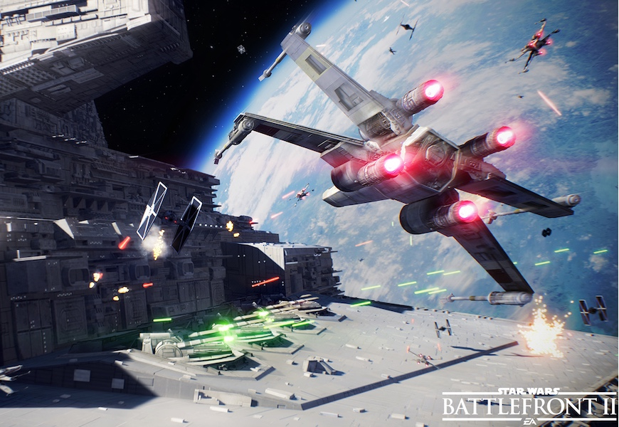 Above: Pilot an X-wing and take on TIE fighters in 'Battlefront 2'