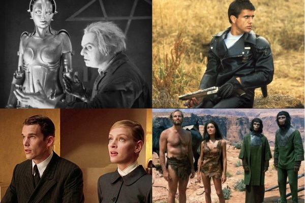 Above (clockwise): Metropolis (1927), Mad Max (1979), Planet of the Apes (1968), Gattaca (1997)