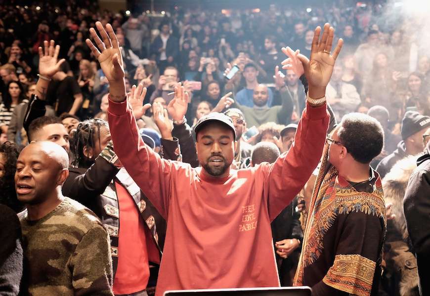 Above: Kanye West at his 'Life of Pablo' and Yeezy Season release event