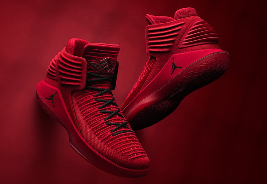 """Above: The """"Rosso Corsa"""" Air Jordan 32s"""