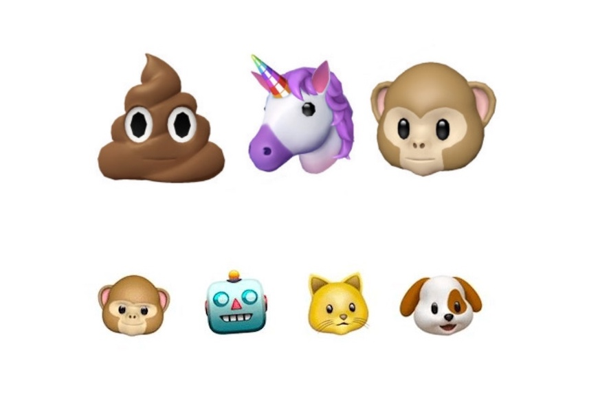 Above: The poop, monkey, and robot face are just some of the new and improved emojis