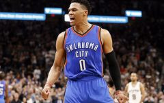 Above: Westbrook celebrates a basket during the NBA playoffs