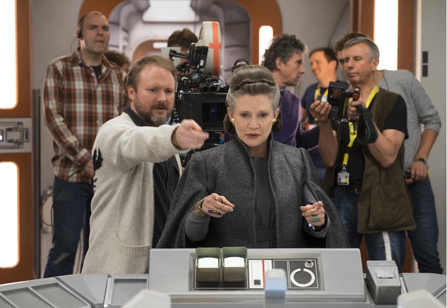 Above: 'Star Wars' director Rian Johnson with Carrie Fisher