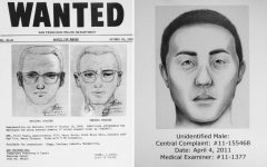 Above: A wanted poster from the San Francisco Police Department for the Zodiac Killer and a sketch from the unsolved case of the Long Island Serial Killer