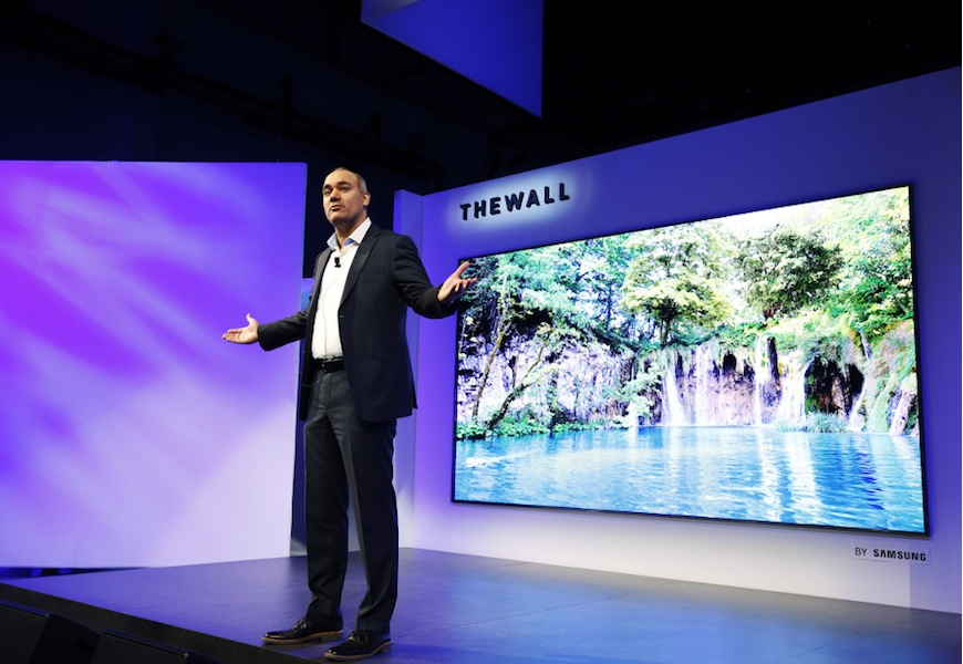 """Above: Samsung shows off """"The Wall"""" at 2018 First Look event"""
