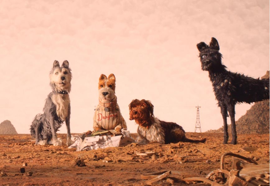 """(From L-R): Edward Norton as """"Rex,"""" Jeff Goldblum as """"Duke,"""" Bill Murray as """"Boss,"""" Bob Balaban as """"King"""" and Bryan Cranston as """"Chief"""" in the film ISLE OF DOGS. Photo Courtesy of Fox Searchlight Pictures."""