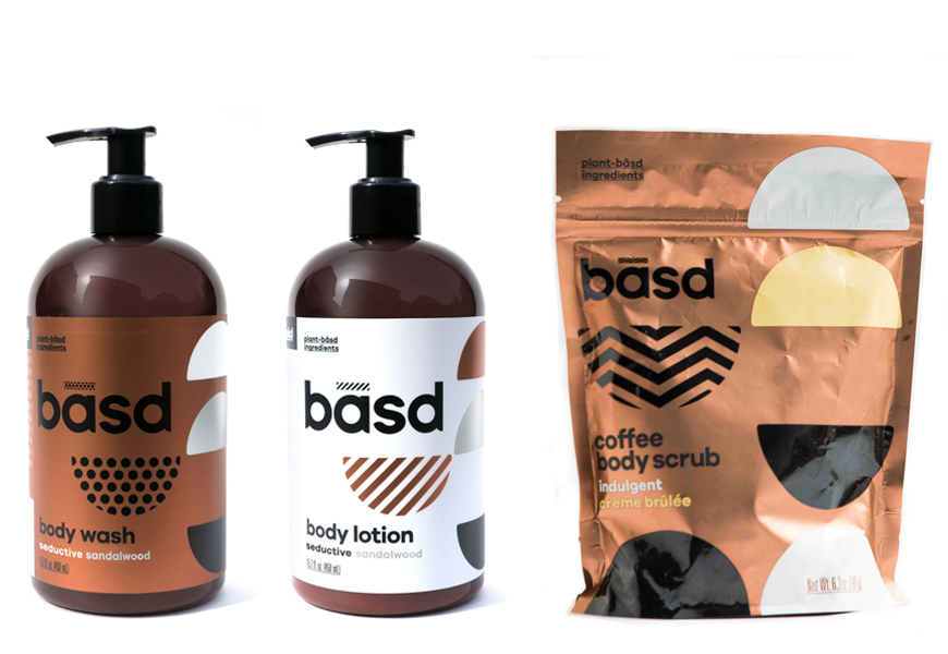 Above: Basd Seductive Sandalwood Body Wash, Body Lotion and the Basd Coffee Body Scrub in Indulgent Crème Brûlée