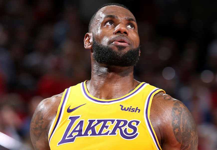 Above: LeBron suited up for his current squad, the LA Lakers