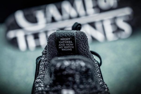 Above: The shoe features script from the Night's Watch