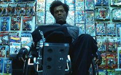 Above: Samuel L Jackson reprises his role as Mr. Glass