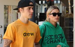 Above: Justin Bieber rocks a drew shirt beside Hailey Baldwin