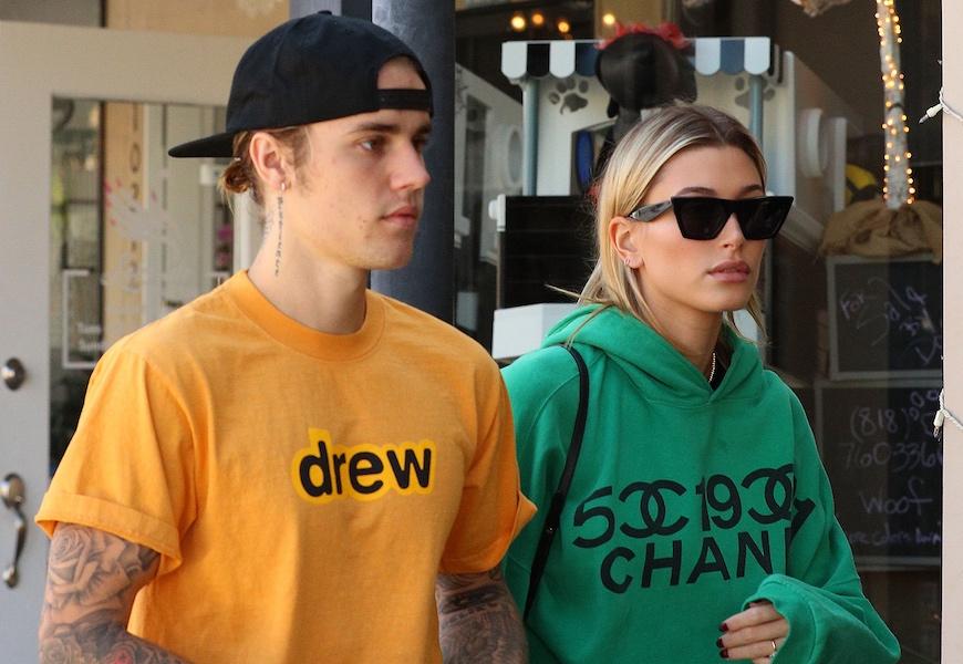 Above: Justin Bieber rocks a drew shirt beside Hailey Baldwin