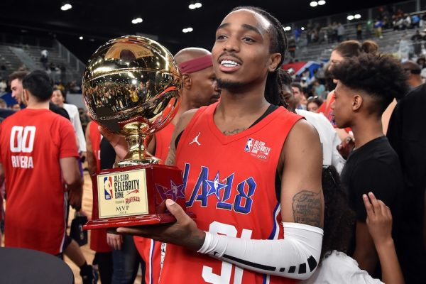 Above: Quavo hoists last year's MVP trophy