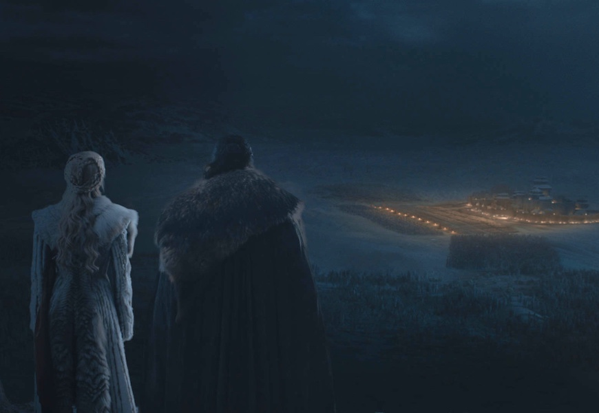 Above: Jon Snow and Daenerys Targaryen look upon their forces