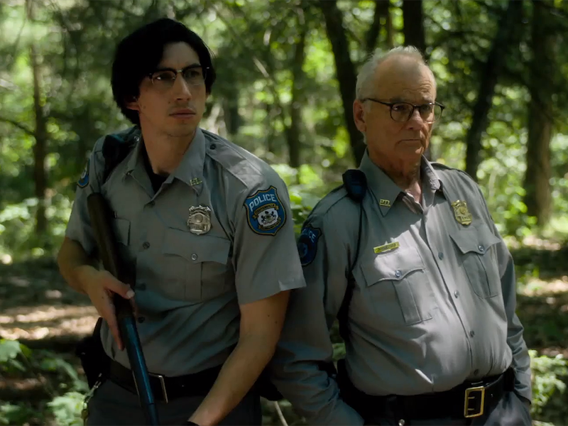 Above: Ronnie Peterson (Adam Driver) and Cliff Robertson (Bill Murray) spot trouble in 'Dead Don't Die'